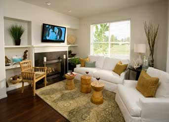 model home staging - living room