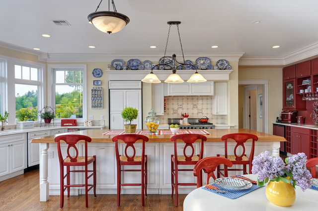 Or A More Bold Statement Using Red Cabinets With Blue And White Accents